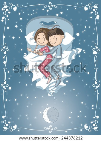 Cute Cartoon Couple Cuddles in Bed - Vector cartoon of a boyfriend and girlfriend sleeping together   - stock vector