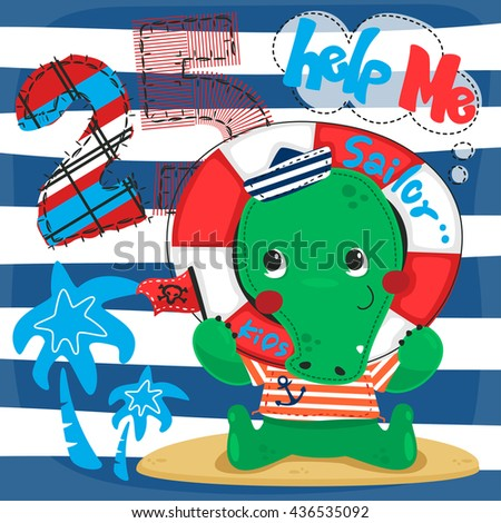Cute cartoon crocodile in sailor costume smiling holding flag with his head through a life ring. on navy blue and white striped background illustration vector. - stock vector