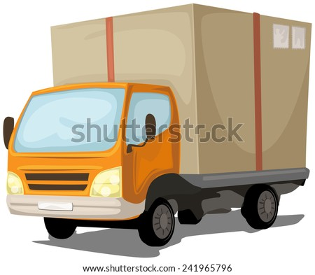 cute cartoon delivery truck, isolated on white, vector illustration - stock vector