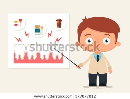 Cute Cartoon Dentist Talking About Things That Ruin Teeth. Vector Illustration - stock vector