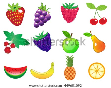 cute cartoon different fruits icons set, vector illustration