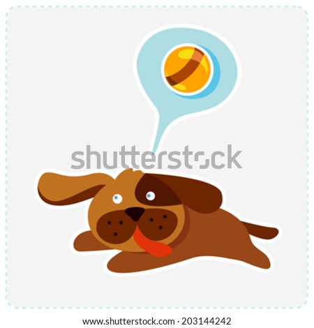 cute cartoon dog is running and playing - vector illustration - stock vector