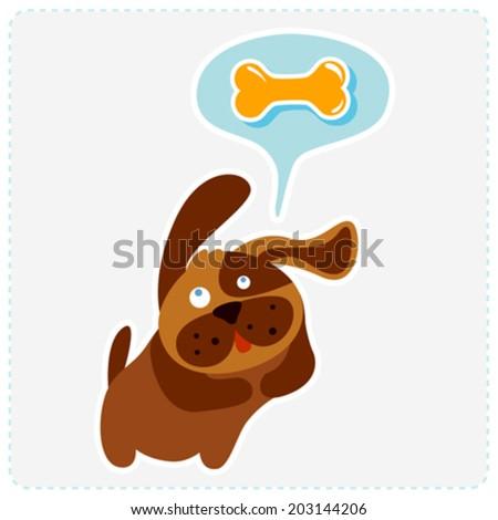 cute cartoon dog is thinking bone - vector illustration - stock vector