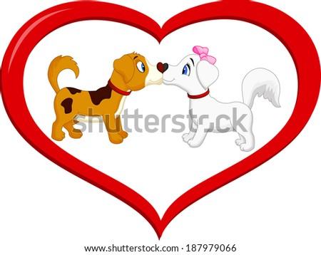 Cute cartoon dog kissing each other - stock vector
