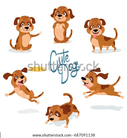 cute cartoon dog pointing begging standing sitting running sniffing playing