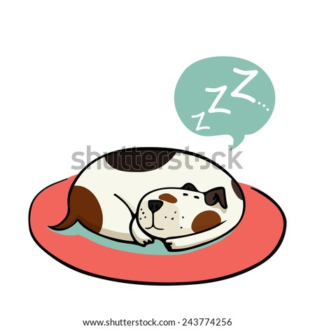 Cute cartoon dog, sleeping on the mat. Hand drawn doodle spotted dog isolated on the white background. - stock vector