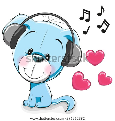 Cute cartoon Dog with headphones on a white background