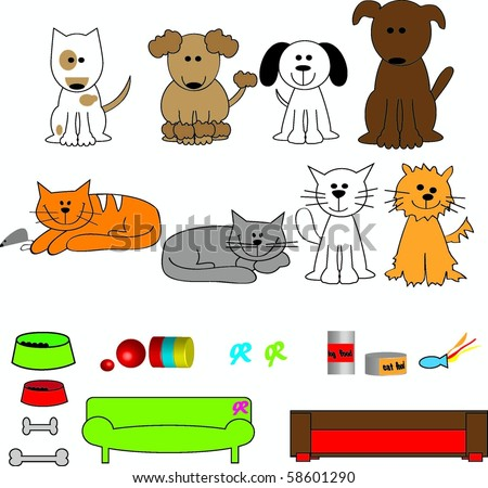 Cute cartoon dogs and cats with beds and toys - stock vector