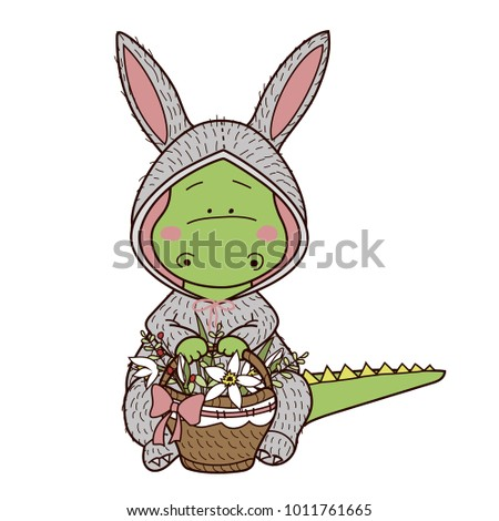 Cute cartoon dragon rabbit costume holds stock vector 2018 cute cartoon dragon in a rabbit costume holds a basket of flowers vector character thecheapjerseys Gallery