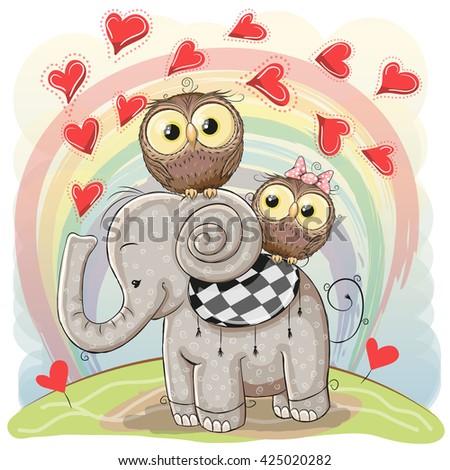 Cute Cartoon Elephant and Two Owls on a rainbow background - stock vector
