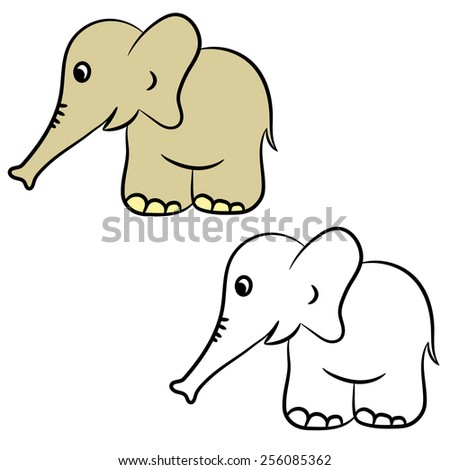 Cute cartoon elephant. Coloring book. Vector illustration - stock vector