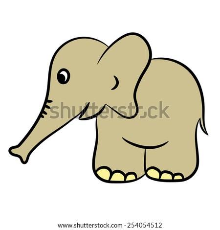 Cute cartoon elephant. Vector illustration - stock vector