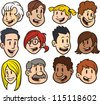 Cute cartoon faces. Clip art vector illustration. Each in a separate layer for easy editing. - stock