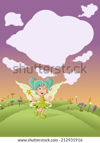 Cute cartoon fairy girl on colorful nature background - stock vector