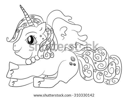 Cute Cartoon Fairytale Unicorn Coloring Page Stock Vector ...