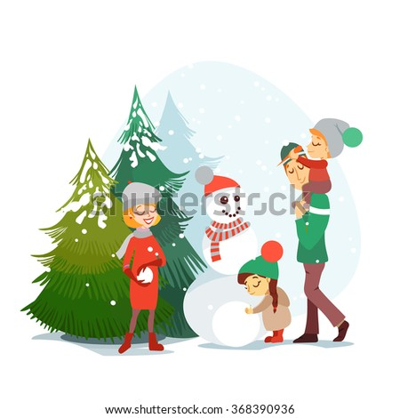 Cute cartoon family enjoying winter vacation in winter forest.Happy parents and children sculpting snowman.Vector illustration isolated on white background  - stock vector