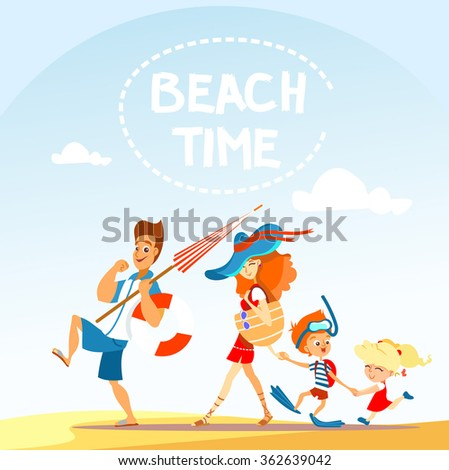 Cute cartoon family on beach:father,mother,son and daughter. Vector illustration - stock vector