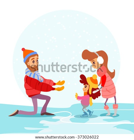 Cute cartoon family on ice rink in winter. Father,mother and little girl skating for her first time. Vector illustration - stock vector