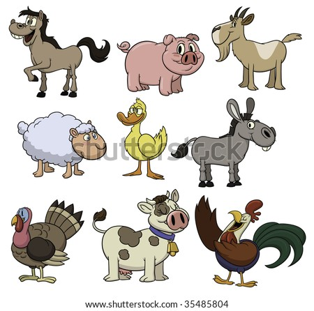 Cute cartoon farm animals. All in separate layers for easy editing. - stock vector