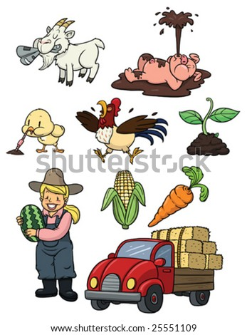 Cute cartoon farming elements. All in separate layers for easy editing. - stock vector