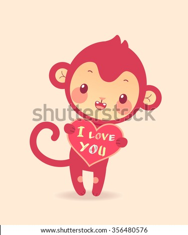 Cute cartoon flat monkey in vector. Illustration of funny monkey with heart. - stock vector