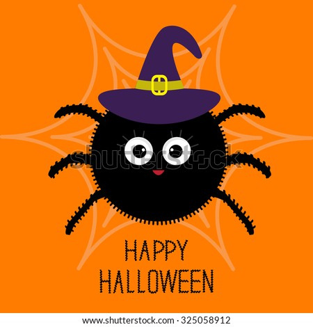 Cute cartoon fluffy spider on the web. Witch hat. Halloween card. Flat design. Vector illustration - stock vector