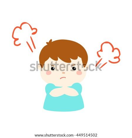 cute cartoon frustrated boy character vector illustration - stock vector