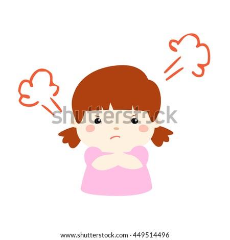 cute cartoon frustrated girl character vector illustration - stock vector