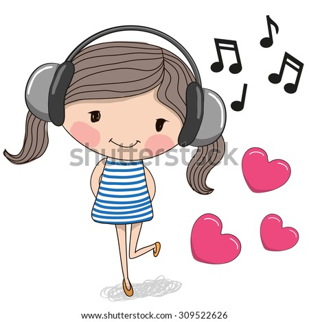 Cute cartoon Girl with headphones and hearts
