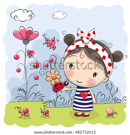 Cute Cartoon Girl with ladybug on a meadow