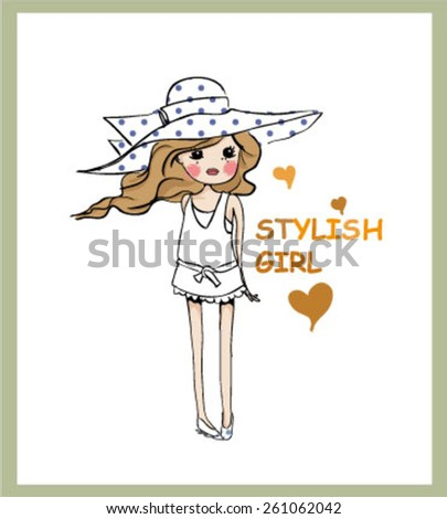 cute cartoon girls - stock vector