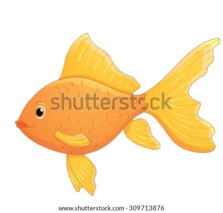 Cute cartoon goldfish.Vector isolated.