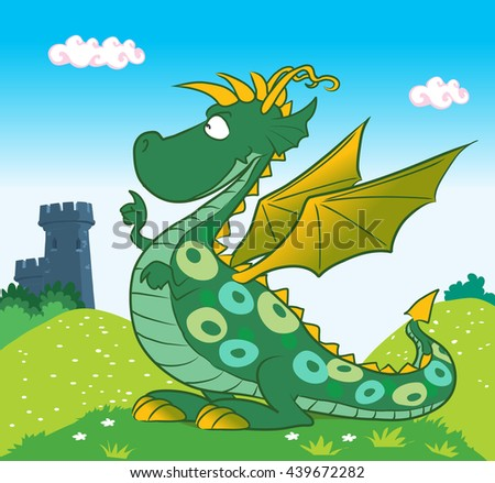 Cute cartoon green dragon. Vector illustration