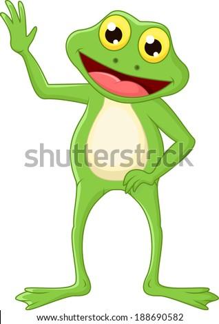 cute cartoon green frog waving hand stock vector 188690582