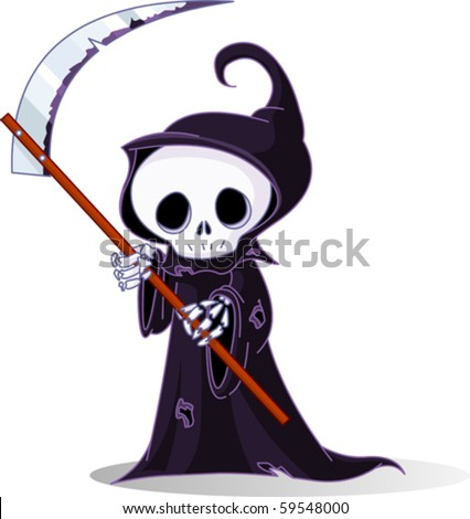 Cute cartoon grim reaper with scythe  isolated on white - stock vector