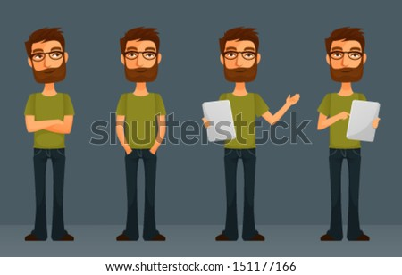 cute cartoon guy with beard and glasses, in various poses - stock vector