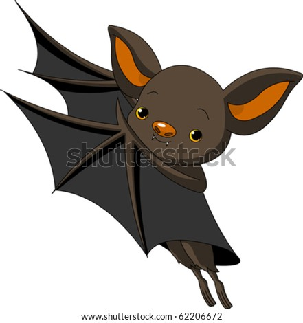 Cute Cartoon Halloween bat presenting with his wings; - stock vector