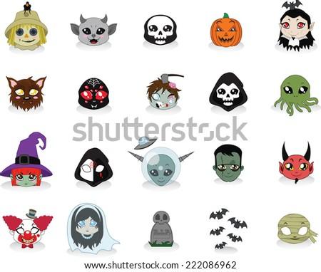 Cute cartoon Halloween icons - stock vector