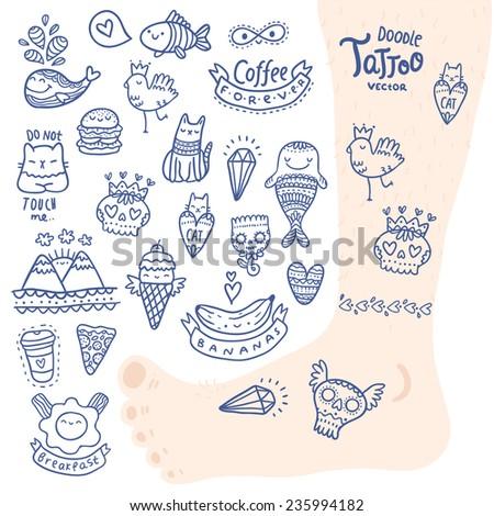 cute cartoon hand drawn doodle tattoo set - stock vector