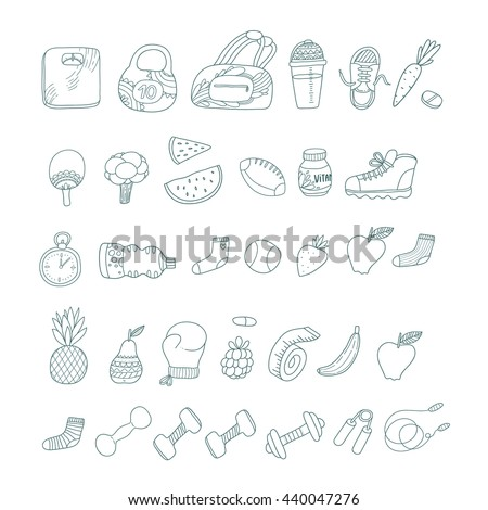 Cute cartoon hand drawn fitness and sport objects. Fruits and vegetables. Sports equipment.