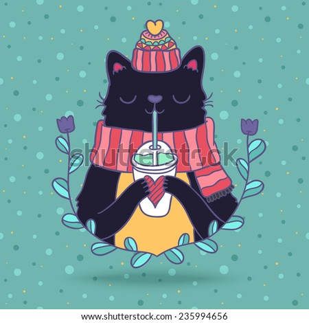 cute cartoon hand drawn Merry Christmas card with cat in knitted hat and scarf, drinking smoothie.  - stock vector