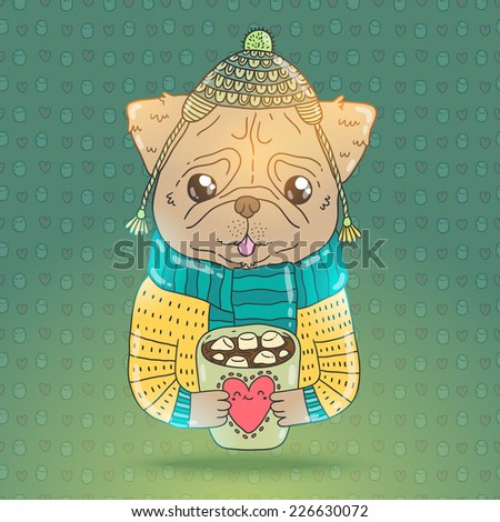 cute cartoon hand drawn pug dog in knit sweater hat and cacao with marshmallow. Vector image for your t-shirt - stock vector