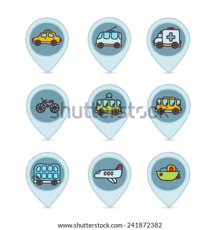 Cute cartoon hand drawn transport icon set with emergency, bus, yellow taxi, airplane, tram, trolleybus, boat, minivan. - stock vector