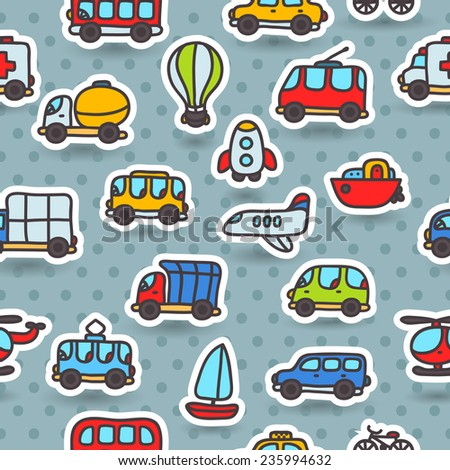 Cute cartoon hand drawn transport seamless pattern -  emergency, double decker bus, yellow taxi, truck, airplane, tram, trolleybus, rocket, balloon, helicopter, boat, jeep, bycycle, minivan - stock vector
