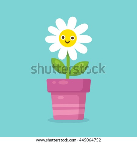 cute cartoon happy flower in pot adorable smiling daisy flower in simple modern flat style