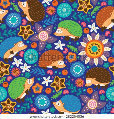 Cute cartoon hedgehogs live in the fantasy forest - stock vector