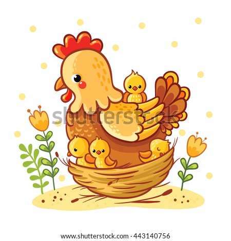 Cute cartoon hen with chickens sitting in a basket, vector illustration. Farm. Chicken family. Hen and chickens vector isolated.