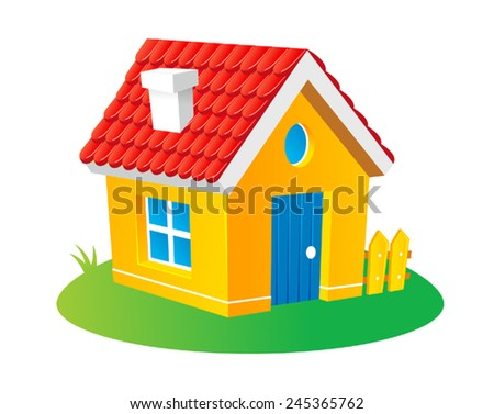 Cute cartoon house kids vector illustration stock vector