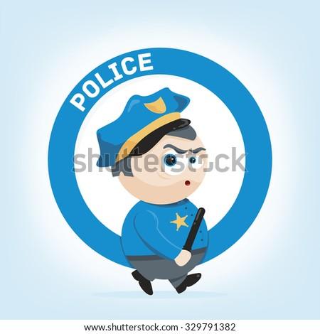 cute cartoon illustration of a policeman  - stock vector
