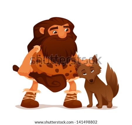 cute cartoon illustration of an ancient caveman with his loyal wolf - stock vector
